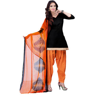Khoobee Cotton Patiyala Dress Material (Black, Orange)