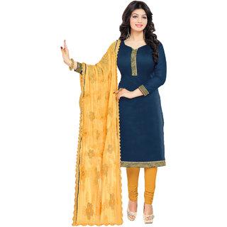 Khoobee Chanderi Dress Material (Dark Blue, Yellow)