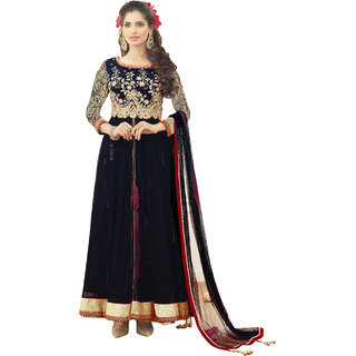 Khoobee Embroidered Georgette Dress Material (Navy Blue, Red)