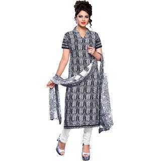Khoobee Cotton Dress Material (Navy Blue, White)