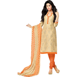 Khoobee Embroidered Chanderi Dress Material (Beige, Orange)