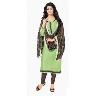 Khoobee Chanderi Dress Material (Light Green, Brown)