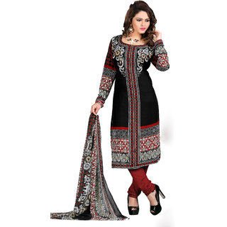 Khoobee Printed Crepe Dress Material (Black, Red)