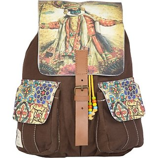 The House of Tara Printed Canvas 035 20 L Medium Backpack (Multicolor Size - 350) HTBP 035