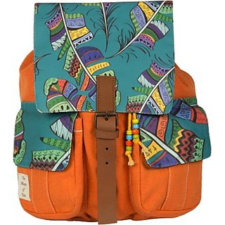 The House of Tara Printed Canvas 037 20 L Medium Backpack (Multicolor, Size - 350) HTBP 037