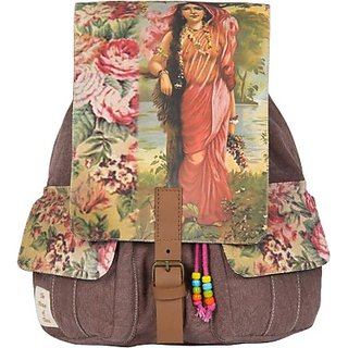 The House of Tara Printed Canvas 039 20 L Medium Backpack (Multicolor Size - 350) HTBP 039