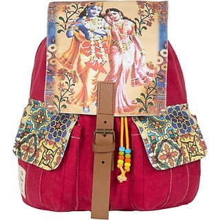 The House of Tara Printed Canvas 041 20 L Medium Backpack (Multicolor Size - 350) HTBP 041