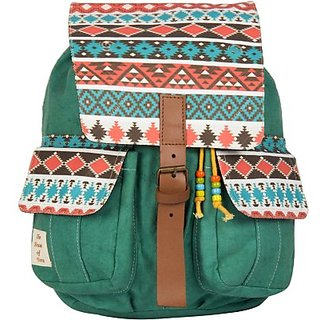 The House of Tara Printed Canvas Medium Backpack (Multicolor Size - 350)