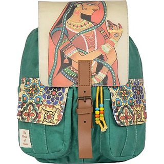 The House of Tara Printed Canvas 043 20 L Medium Backpack (Multicolor, Size - 350) HTBP 043