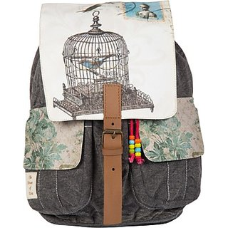 The House of Tara Printed Canvas 046 20 L Medium Backpack (Multicolor Size - 350) HTBP 046