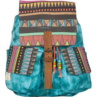 The House of Tara Printed Canvas 049 20 L Medium Backpack (Multicolor Size - 350) HTBP 049