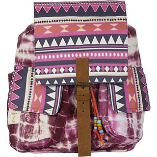 The House of Tara Printed Canvas 052 20 L Medium Backpack (Multicolor Size - 350) HTBP 052