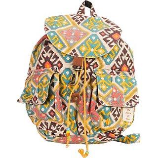 The House of Tara Canvas Ikkat Print Bag 16 L Medium Backpack (Multicolor Size - 350) HTBP 060