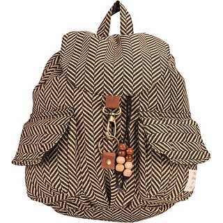 The House of Tara Canvas Herringbone Print Bag 16 L Medium Backpack (Brown Size - 350) HTBP 065