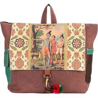 The House of Tara Canvas Ethnic Art Bag 10 L Medium Backpack (Multicolor Size - 300) HTBP 071