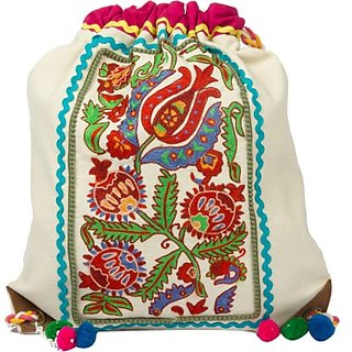 The House of Tara Embroidered Canvas 16 L Backpack (White) HTBP 089