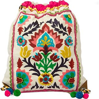 The House of Tara Embroidered Canvas 16 L Backpack (White) HTBP 090