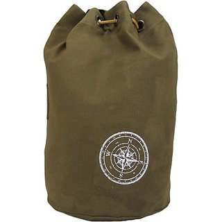 The House of Tara Wax Coated Cotton Canvas Rucksack 21 L Backpack (Khaki) HTBR 04