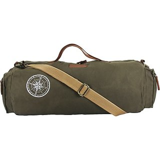 The House of Tara Waxed Canvas Duffle Gym Bag 20 inch 50 cm (Olive Green) 755920bed1d13