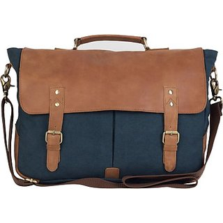 The House Of Tara 15 inch Laptop Messenger Bag (Tan, Blue) HTMB 013
