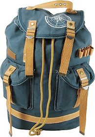 The House of Tara Wax Coated Cotton Canvas 27 L Backpack (Combat Blue) HTBP 092