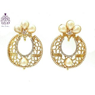 Splendid Round Mesh Fashion Earrings by WiD(Perl Ivory)