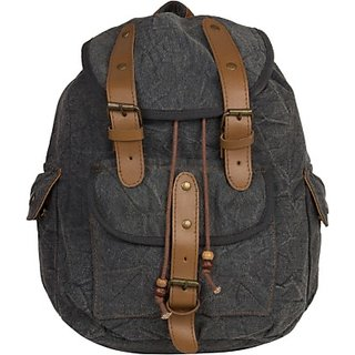 The House of Tara Leather Accented Canvas 16 L Medium Backpack (Grey Size - 350) HTBP 077