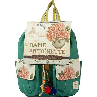The House of Tara Printed Flaps Canvas 16 L Medium Backpack (Teal Size - 350) HTBP 081