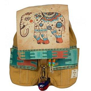 The House of Tara Printed Flaps Canvas 16 L Medium Backpack (Desert Sand Size - 350) HTBP 083