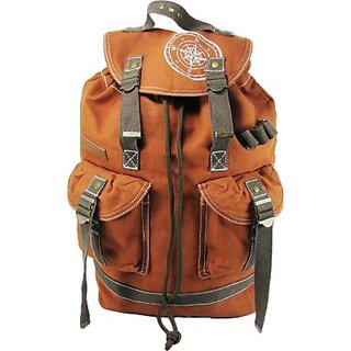 The House of Tara Wax Coated Cotton Canvas 27 L Backpack (Rust) HTBP 091