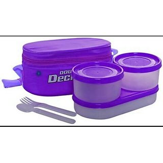 Plastic Double Decker Lunch Box, (Purple)