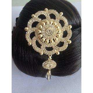 Flower Shape Stone Jura Pin cum Saree Pin - Code 575