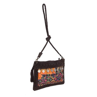 Jaipur Textile Hub Traditional Jaati Fabric embordried Bag(Brown)