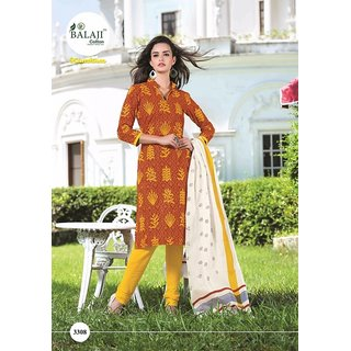 KUMKUM 7 (WITH COTTON DUPATTA) QUALITY COTTON DRESS MATERIAL (UNSTITCHED) 3308