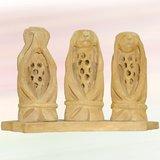 "2.5"" Wooden Hand Carved Three Monkeys Of Mahatma Gandhi"
