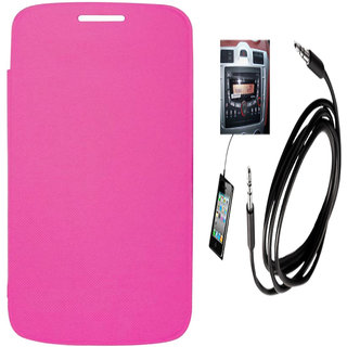 Romito Premium Quality Flip Cover For- Samsung Galaxy Trend Gt-S7392 Pink With Aux Cable
