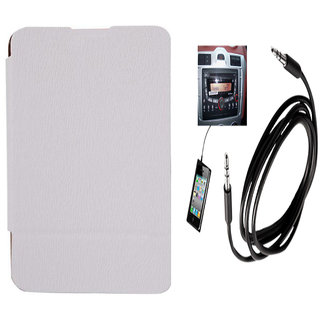 Romito Premium Quality Flip Cover For- Nokia Lumia 530 White With Aux Cable