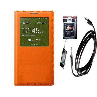 Romito Premium Quality Flip Cover For- Samsung Galaxy S4 Gt I9500 Orange With Aux Cable