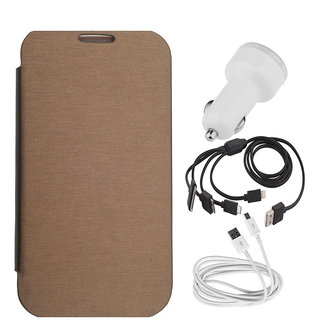 Romito Flip Cover For- Asus Zenfone 4.5 Brown With Car Charger, 5 In 1 Charging Cable And Data Cable