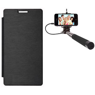 Romito Flip Cover Case For Microsoft Lumia 640-Black With Selfie Stick Monopod With Aux Accessory Combo