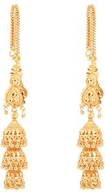Designer Gold Plated Kaan chain Jhumki Earrings by GoldNera