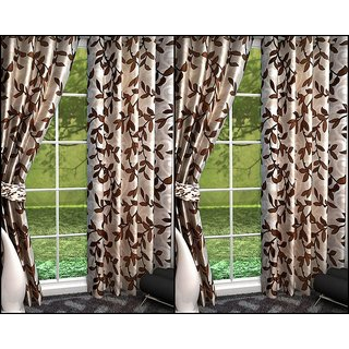 K Decor Brown,White Polyester Door Eyelet Stitch Curtain Feet (Combo Of 4)