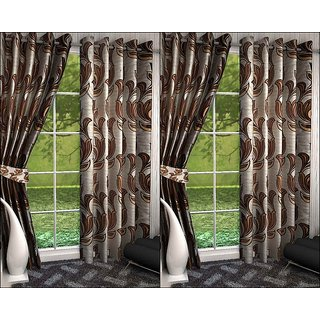 K Decor Set of 4 Beautiful Polyester Door Curtains (DCN4-073)