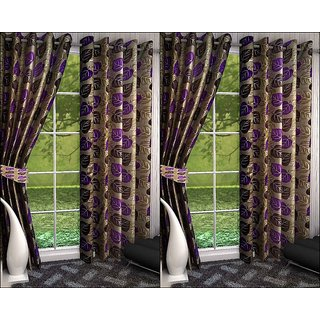 K Decor Violet,Beige Polyester Door Eyelet Stitch Curtain Feet (Combo Of 4)