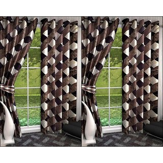 K Decor Black,White Polyester Door Eyelet Stitch Curtain Feet (Combo Of 4)