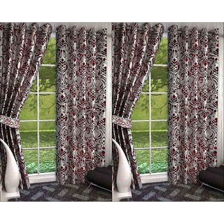 K Decor Set of 4 Beautiful Polyester Door Curtains (DCN4-087)