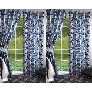 K Decor White,Blue Polyester Door Eyelet Stitch Curtain Feet (Combo Of 4)
