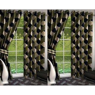 K Decor Set of 4 Beautiful Polyester Door Curtains (DCN4-089)