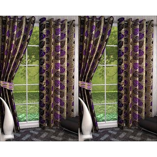 K Decor Beige,Violet Polyester Door Eyelet Stitch Curtain Feet (Combo Of 4)