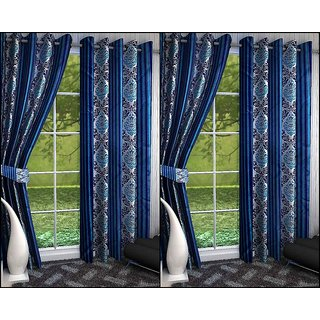 K Decor Multicolor Polyester Door Eyelet Stitch Curtain Feet (Combo Of 4)